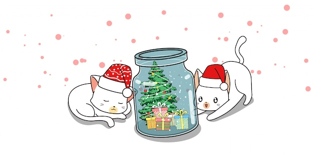 Personnages de chat adorables et jour de noël en bouteille