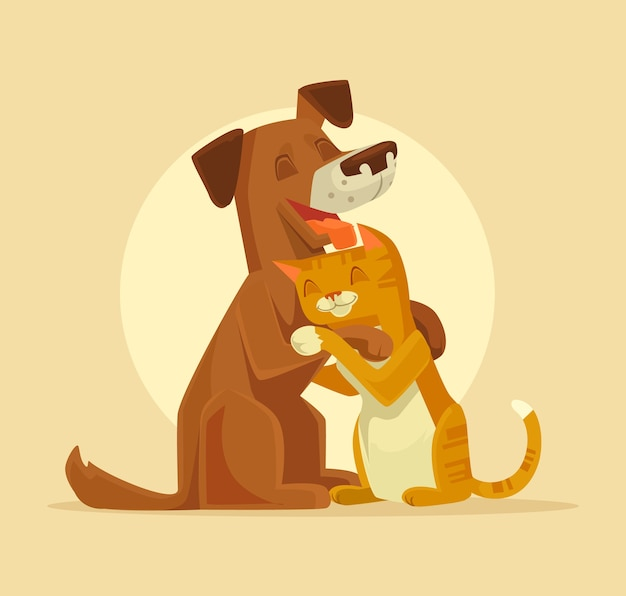 Personnages de chat et de chien meilleure illustration d'amis heureux