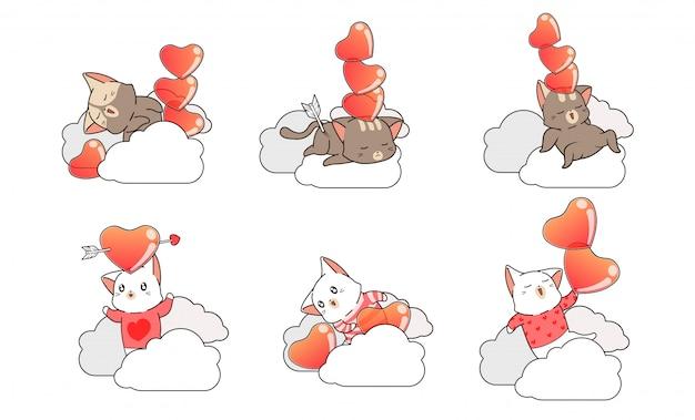 Personnages de chat et collection coeur sur nuages