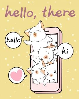 Personnages de chat kawaii dans un téléphone mobile