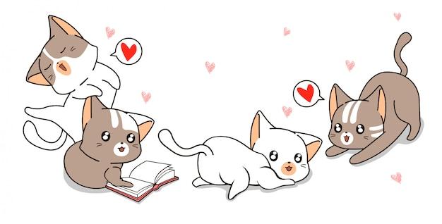Personnages de chat kawaii jouant