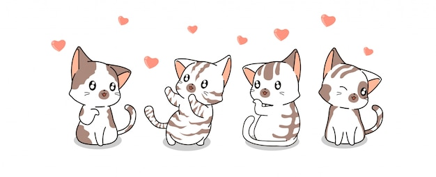 Personnages de chat kawaii