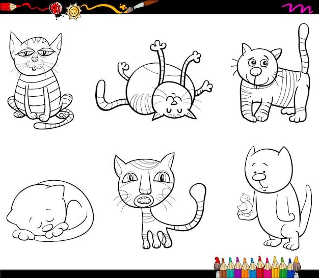 Personnages de chat livre de coloriage
