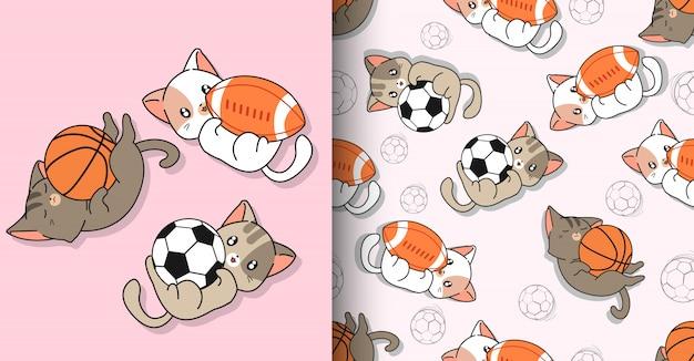 Personnages de chat de sport kawaii sans couture et 3 balles différentes