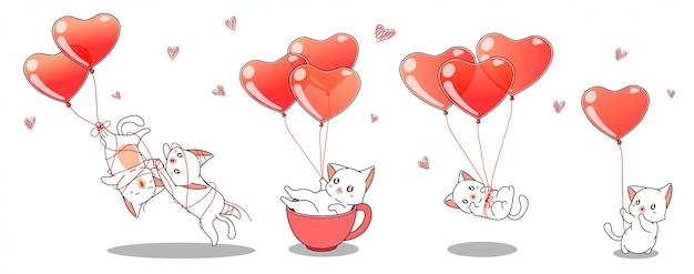 Personnages de chats kawaii avec des ballons coeur