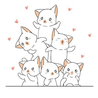Les personnages de chats kawaii dessinés à la main sont heureux avec des mini coeurs