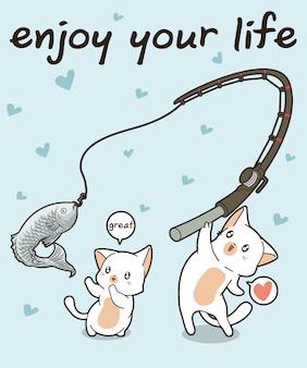 Les personnages de chats kawaii pêchent