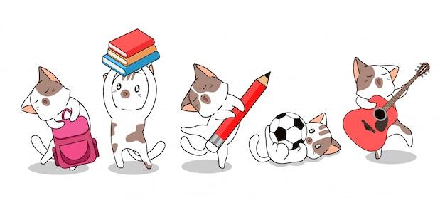 Les personnages de chats kawaii retournent à l'école
