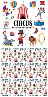 Personnages de cirque et animaux