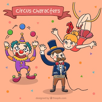 Personnages de cirque dans un style enfantin