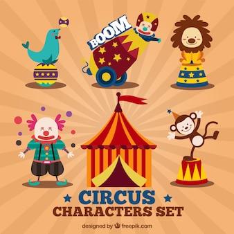 Personnages de cirque mis