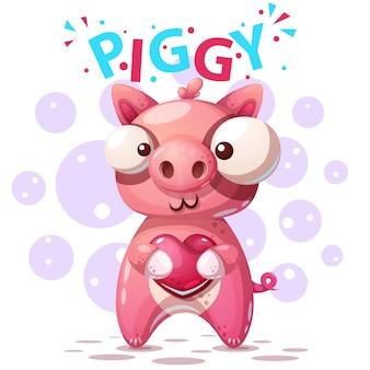 Personnages de cochon mignon - illustration de dessin animé