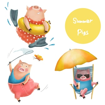Personnages de cochons d'été drôles