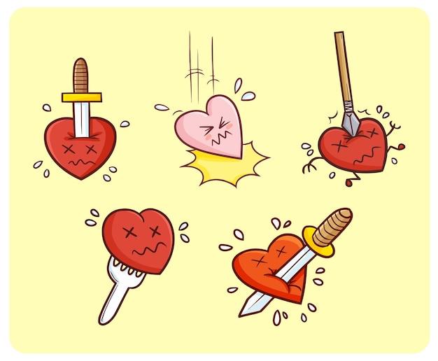 Personnages de coeur drôles et mignons se blessant style simple doodle kawaii