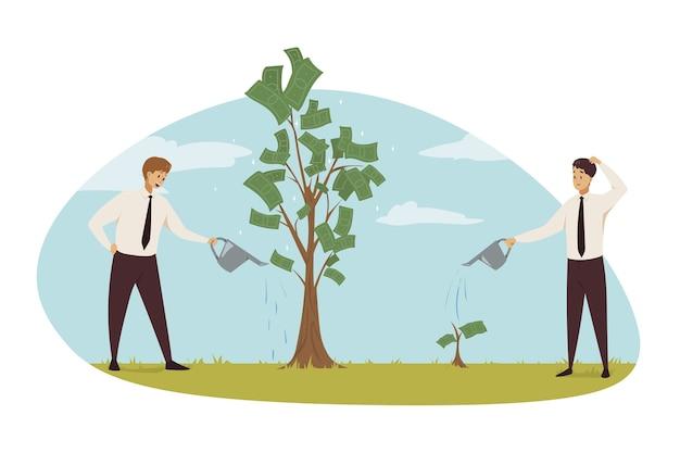 Personnages de commis d'hommes d'affaires investissant du temps et de l'argent pour un revenu financier.