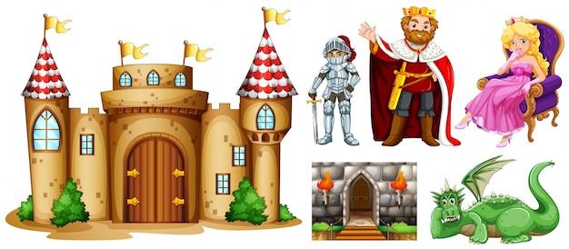 Personnages de conte de fées et construction de palais