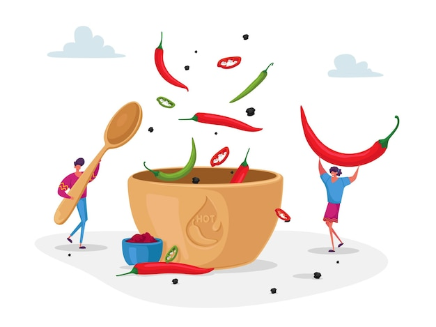 Personnages cook hot spicy food