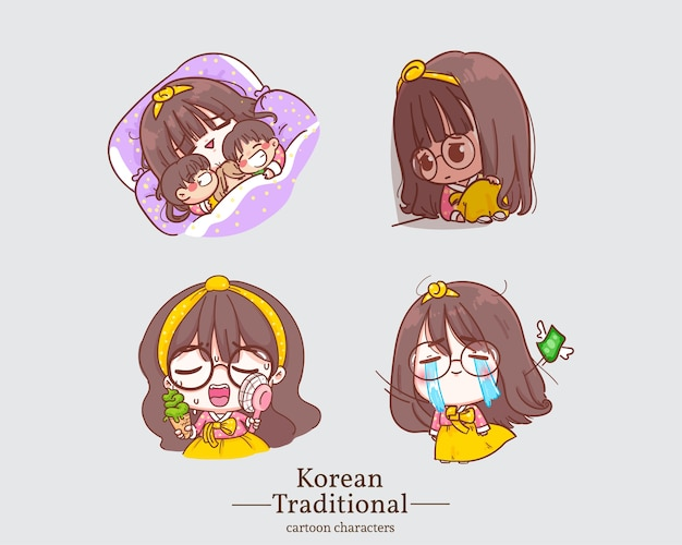Personnages coréens de jolies filles souriantes dans des dessins animés de robe hanbok coréenne traditionnelle. illustration de jeu