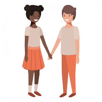 Personnages de couples d'adolescents amicaux sympathiques