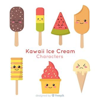 Personnages de la crème glacée kawaii