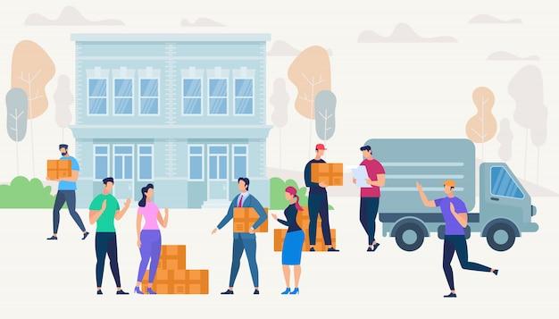 Personnages dans la rue avec service de livraison