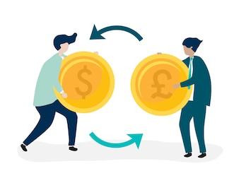 Personnages de deux hommes d'affaires échangeant des devises
