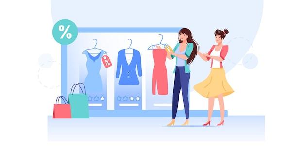 Personnages de dessin animé femme plate essayer une nouvelle tenue vestimentaire