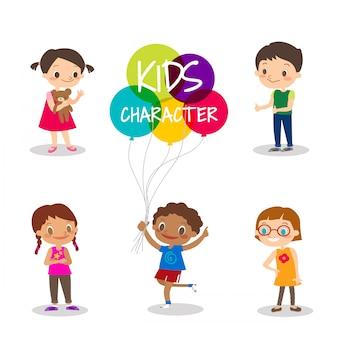 Personnages de dessin animé heureux enfants préadolescents