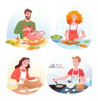 Personnages de dessin animé homme femme cuisson salade de légumes verts