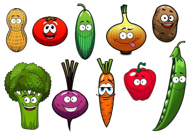 Personnages de dessin animé de légumes