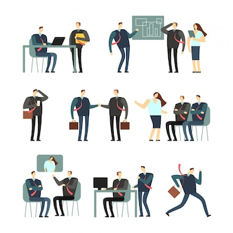 Personnages de dessin animé de personnes qui travaillent. employés femmes et hommes au bureau, collègues de travail
