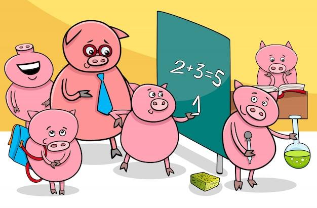 Personnages de dessin animé de porcelet à l'école