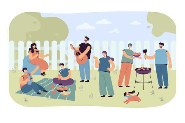 Personnages de dessin animé profitant d'une soirée barbecue. illustration plate