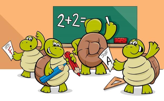 Personnages de dessin animé de tortue dans la salle de classe