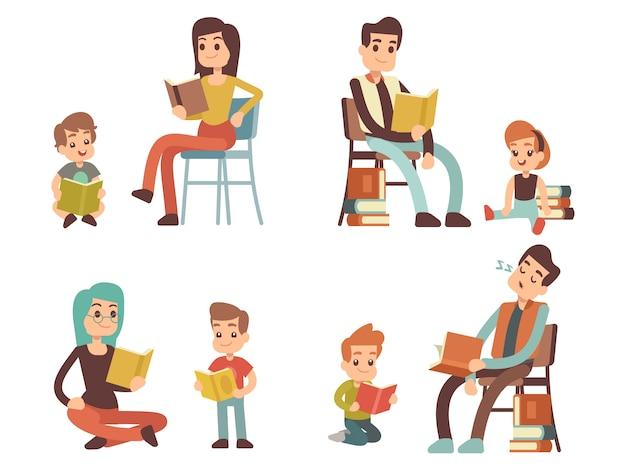 Personnages de dessins animés adultes et enfants lisant des livres