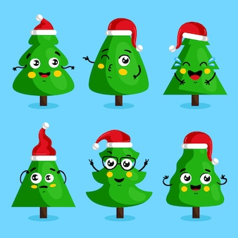 Personnages de dessins animés d'arbre de noël vert