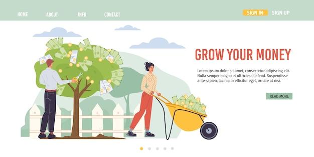 Les personnages de dessins animés augmentent les profits et récoltent des revenus d'argent - concept d'investissement financier pour le web en ligne, site