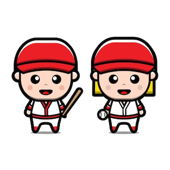 Personnages de dessins animés de baseball mignon