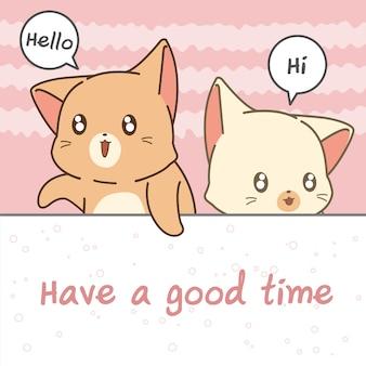 Personnages de dessins animés de chat disent salut.