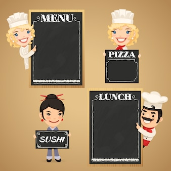 Personnages de dessins animés de chefs avec menu de tableau