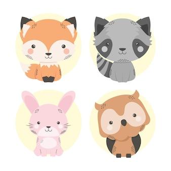 Personnages de dessins animés comiques de quatre animaux mignons