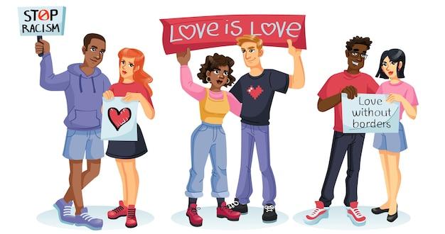 Personnages de dessins animés, couples d'amoureux heureux de différentes races.
