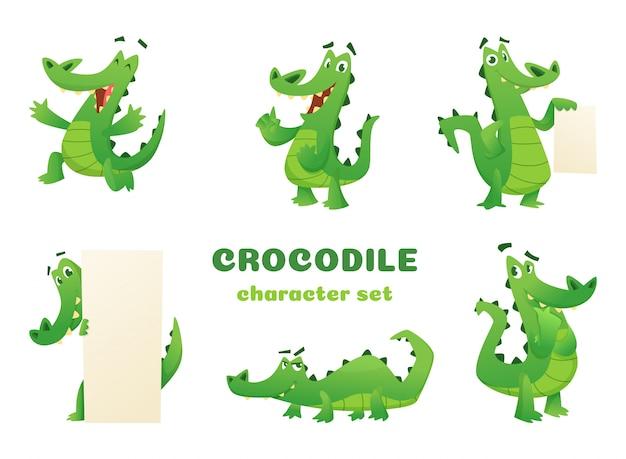 Personnages de dessins animés de crocodiles, mascottes de grands animaux verts reptiles amphibiens sauvages alligator posant diverses pos
