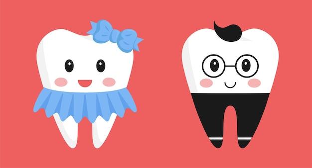 Personnages de dessins animés de dents. jolie fille en jupe et avec un arc, adorable garçon en pantalon et lunettes.