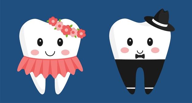 Personnages de dessins animés de dents. jolie fille en robe et avec une couronne, garçon en pantalon et chapeau.