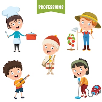 Personnages de dessins animés de différentes professions