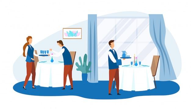 Personnages de dessins animés du personnel du restaurant au travail
