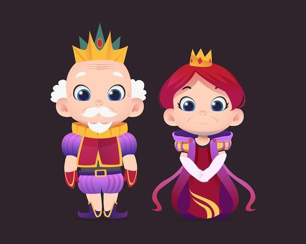 Personnages de dessins animés du roi et de la reine