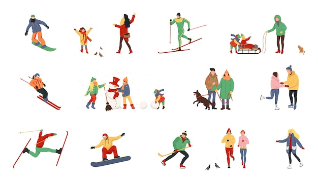Personnages de dessins animés effectuant des activités hivernales