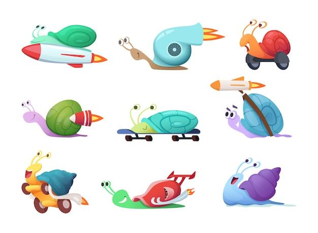 Personnages de dessins animés d'escargots. limace de mer lente ou caracoles s